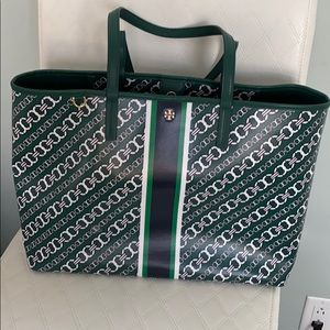 Tory Burch Gemini Links Green Canvas Tote